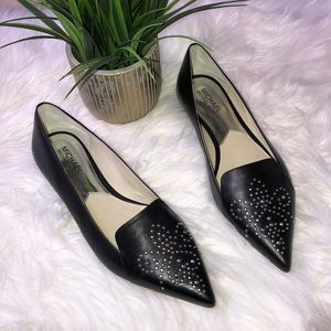 Michael Kors black leather flats with tiny studs